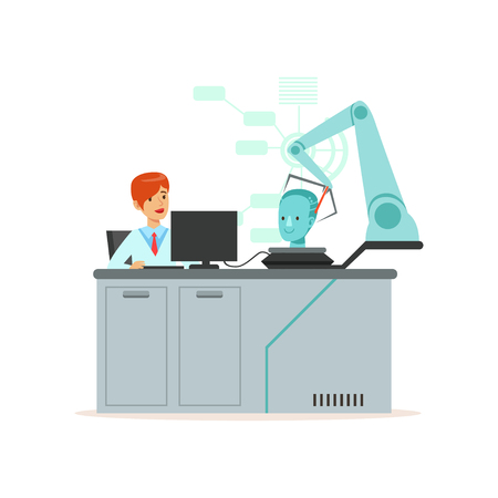 Photo for Female scientist and robotic arm conducting experiments in a modern laboratory, research center, artificial intelligence concept vector illustration - Royalty Free Image