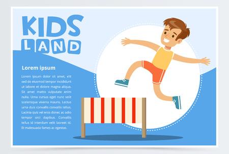 Ilustración de Smiling sportive boy jumping hurdle, kids land banner. Flat vector element for website or mobile app. - Imagen libre de derechos