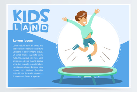Illustration for Smiling active boy jumping on trampoline, kids land banner. Flat vector element for website or mobile app. - Royalty Free Image