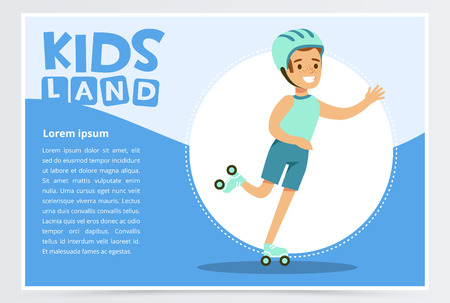 Ilustración de Smiling active boy rollerblading, kids land banner flat vector element for website or mobile app with sample te - Imagen libre de derechos