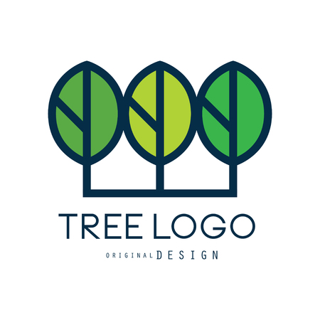 Illustration for Tree logo original design, green eco badge, abstract organic element vector illustration isolated on a white background - Royalty Free Image