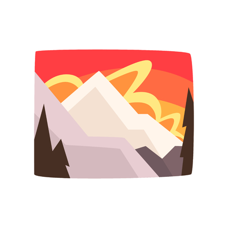 Illustration for Snowy rocky mountains at sunset, beautiful winter landscape background, horizontal vector illustration. - Royalty Free Image