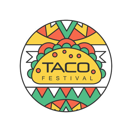 Illustration pour Round emblem with Mexican traditional street food. Taco festival concept. Abstract design for logo, badge, label or flyer. Line art with colorful fill. Vector illustration isolated on white background - image libre de droit