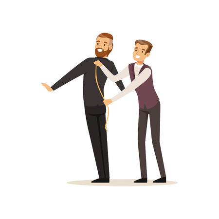 Illustration pour Male dressmaker taking measurements from young man, tailor couture working at atelier vector Illustration on a white background - image libre de droit