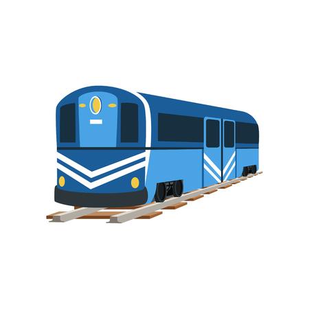 Illustration pour Underground blue train locomotive, subway transport vector Illustration - image libre de droit