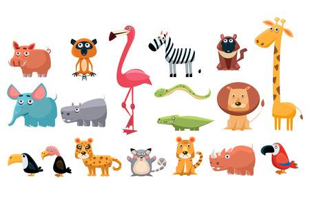 Illustration for Set of colorful funny animals cartoon illustration. - Royalty Free Image