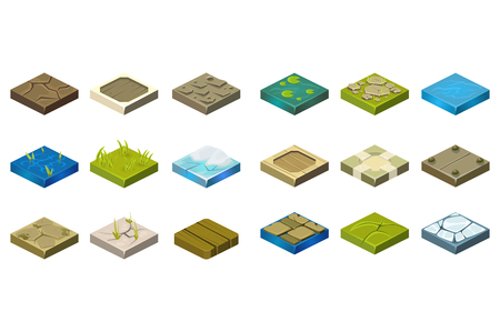 Illustration for Set of isometric landscape tiles with different surfaces cartoon illustration. - Royalty Free Image