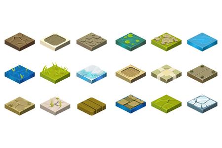 Ilustración de Set of isometric landscape tiles with different surfaces cartoon illustration. - Imagen libre de derechos