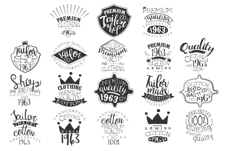 Illustration for Vector set of monochrome emblems for fashion boutique or handmade clothing shop. Vintage labels. Design for ads, packaging, signboard or branding identity - Royalty Free Image