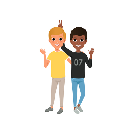 Illustration pour Two friends having fun, happy teenagers friendly hugging vector Illustration isolated on a white background - image libre de droit