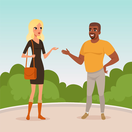 Illustrazione per Young blond woman and bearded afro-american man standing in park and having conversation. Cartoon people characters talking outdoors. Blue sky and green bushes on background. Flat vector illustration. - Immagini Royalty Free