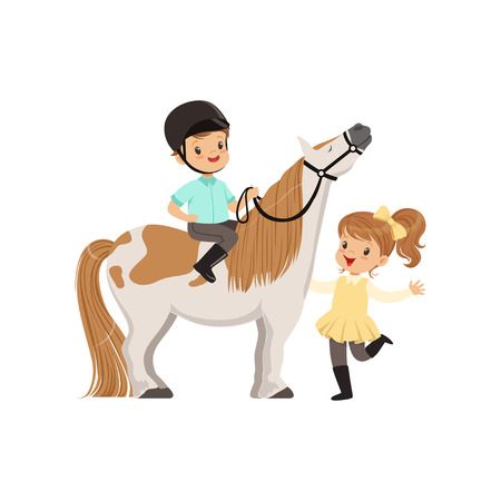 Ilustración de Cheerful little boy jockey sitting on pony horse, beautiful girl standing next to him, children's equestrian sport vector Illustration - Imagen libre de derechos