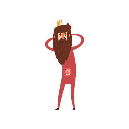 Illustration for Funny bearded king character holding his head cartoon vector Illustration - Royalty Free Image