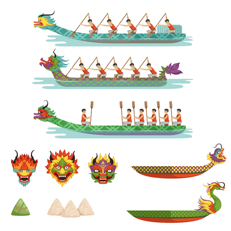 Ilustración de Dragon boats set, team of male athletes compete at dragon boat festival vector illustrations. - Imagen libre de derechos