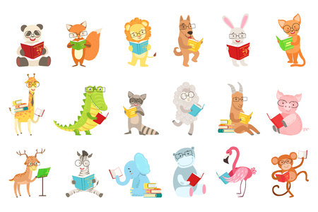 Illustration pour Cute animal characters reading books set. - image libre de droit