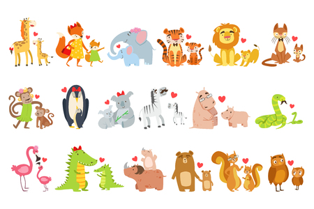 Illustration pour Baby animals and their moms illustration set. - image libre de droit