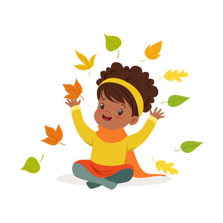 Illustration pour Sweet African American little girl in warm clothing throwing leaves up, cute kid enjoying fall, autumn kids activity vector Illustration - image libre de droit