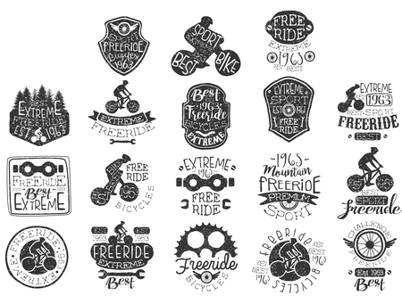 Illustration pour Hand drawn black icon set for free rides theme  biking club  extreme sports. - image libre de droit