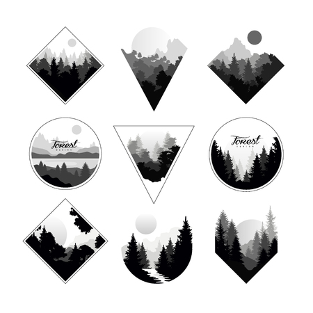 Illustration pour Set of monochrome landscapes in geometric shapes circle, triangle, rhombus. Natural sceneries with wild pine forests. - image libre de droit