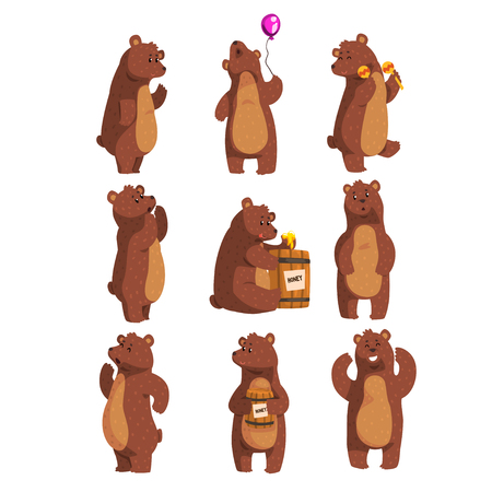 Ilustración de Set with funny bear. Forest animal waving by paw, holding balloon, dancing, howling, calling someone, eating honey from wooden barrel, smiling. Flat vector design - Imagen libre de derechos