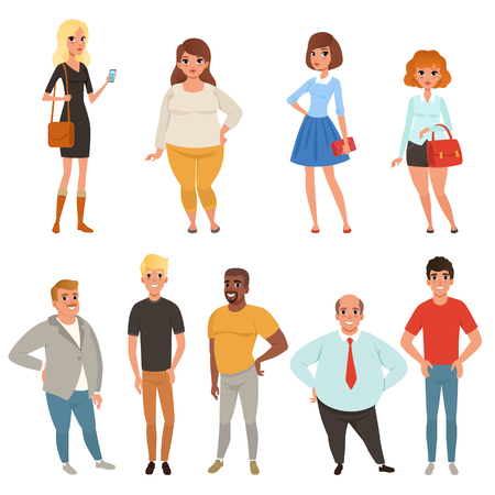 Illustrazione per Cartoon collection of young and adult people in different poses. - Immagini Royalty Free