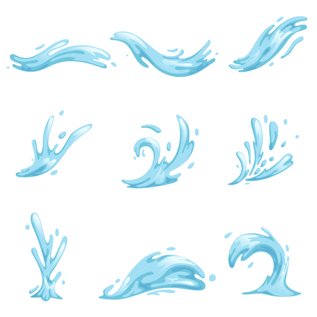 Illustration pour Blue waves and water splashes set, wavy symbols of nature in motion vector Illustrations - image libre de droit
