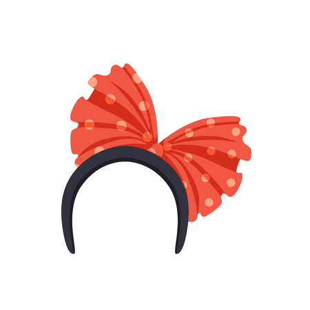 Headband with red bow, masquerade decor, carnival headdress element cartoon vector Illustration isolated on a white background