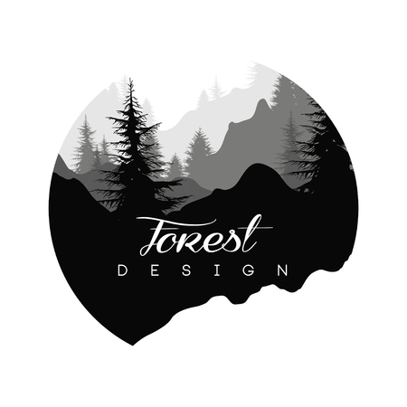 Ilustración de Forest logo design, nature landscape with silhouettes of trees and mountains, natural scene icon in geometric round shaped design, vector illustration in black and white colors - Imagen libre de derechos