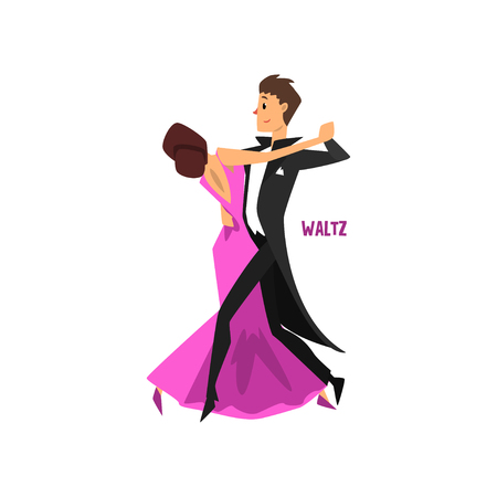 Ilustración de Professional dancer couple dancing waltz vector Illustration on a white background - Imagen libre de derechos
