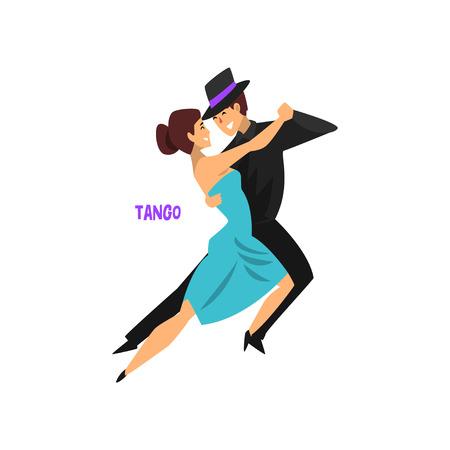 Ilustración de Professional dancer couple dancing tango vector Illustration on a white background - Imagen libre de derechos