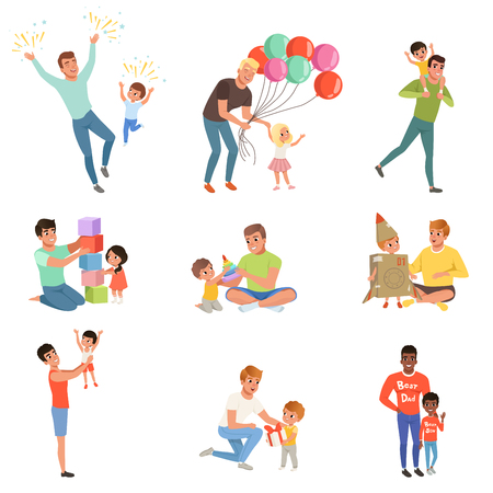 Illustration pour Fathers playing and enjoying good quality time with their happy little children set. - image libre de droit