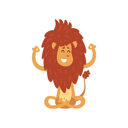 Illustrazione per Cute lion cub cartoon character meditating in lotus position vector Illustration on a white background - Immagini Royalty Free
