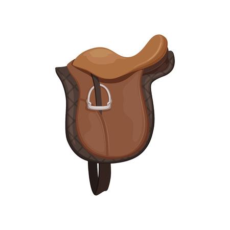 Illustration pour English saddle, brown leather, equestrian professional sport equipment vector Illustration - image libre de droit