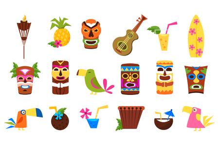 Ilustración de Symbols of Hawaii set, Tiki tribal masks, tropical cocktails, fruits, birds and musical instruments vector Illustrations on a white background - Imagen libre de derechos