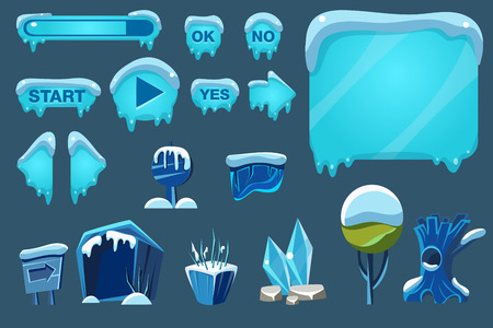 Illustration pour A Buttons with snow set, game user interface with control and landscape elements vector Illustrations for apps, web - image libre de droit