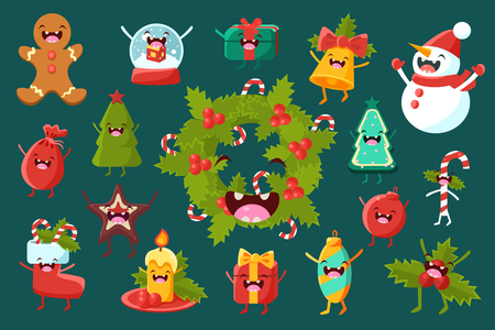 Illustration pour Set of christmas comic decoration elements with funny faces illustration. - image libre de droit