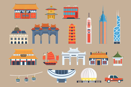 Photo for Symbols of Hong Kong sett, Chineset landmarks, travel elements vector Illustrations on a beige background - Royalty Free Image