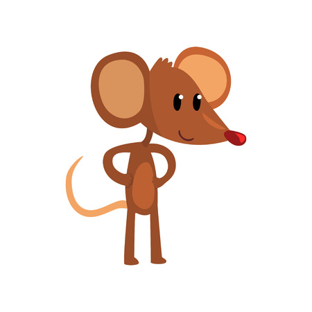 Ilustración de Cute brown mouse standing on two legs with hands on its waist, funny rodent character cartoon vector illustration on a white background. - Imagen libre de derechos
