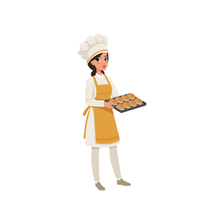 Illustration pour Young female baker character in uniform holding a tray with freshly baked bread vector illustration on a white background. - image libre de droit