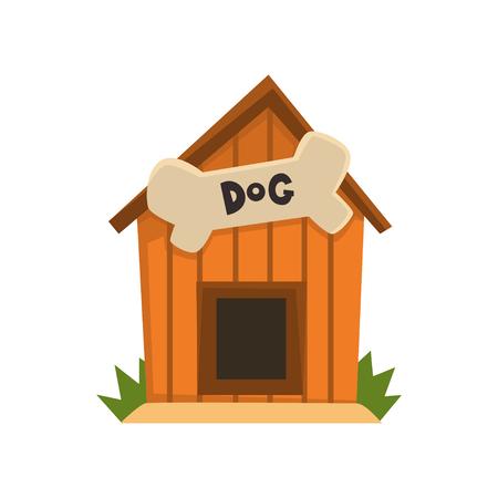 Ilustración de Wooden kennel with bone vector Illustration on a white background - Imagen libre de derechos