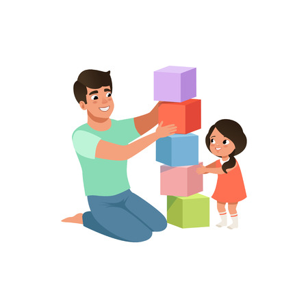 Illustration pour Smiling dad playing cubes with his daughter, loving father and kid spending time together vector Illustration isolated on a white background. - image libre de droit