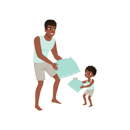 Illustration for Dad and son playing pillow, loving dad and kid spending time together vector Illustration isolated on a white background. - Royalty Free Image