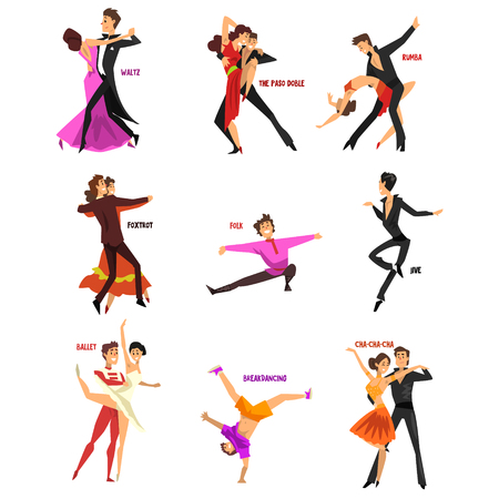 Illustration pour Professional dancer people dancing, young man and woman dressed in elegant clothing performing dances vector Illustrations isolated on a white background. - image libre de droit