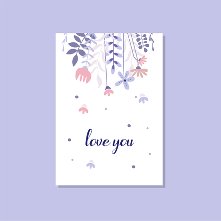 Photo for Romantic greeting card with the inscription Love you, trendy postcard for Valentines day, birthday, anniversary, invitation vector Illustration, elegant design element with decorative flowers - Royalty Free Image