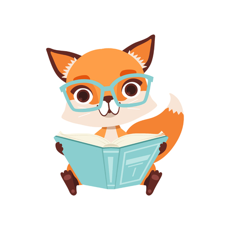 Illustration pour Cute clever fox character sitting and reading a book, funny forest animal vector Illustration on a white background - image libre de droit