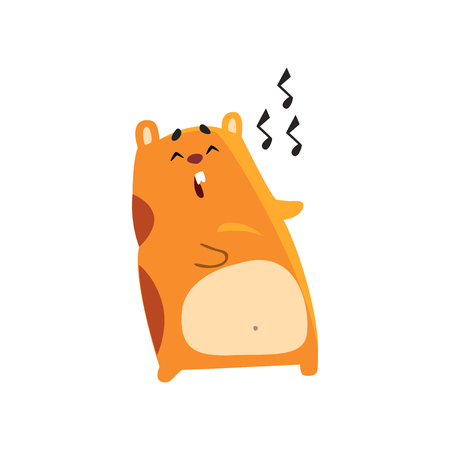 Illustration pour Cute cartoon hamster character singing song, funny brown rodent animal pet vector Illustration on a white background - image libre de droit