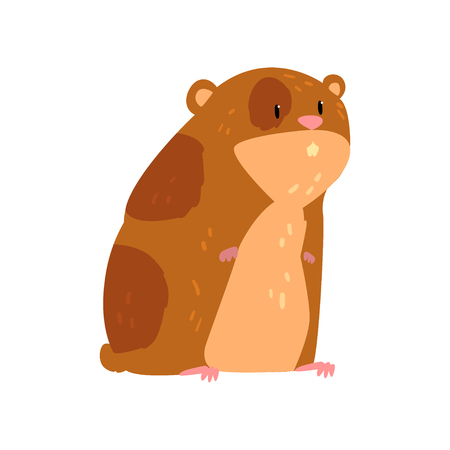 Ilustración de Cute cartoon hamster character, funny brown rodent animal pet vector Illustration on a white background - Imagen libre de derechos