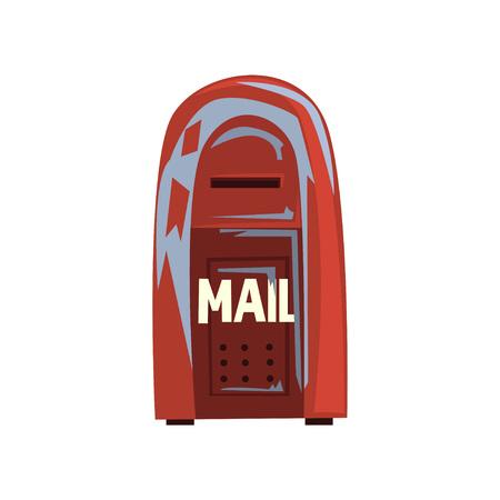 Ilustración de Cartoon style icon of old shabby mailbox. Red hanging metallic postbox. Sign for people communication concept. - Imagen libre de derechos