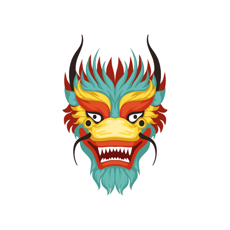Illustration pour Dragon face, colorful symbol of Chinese traditional Boat Festival vector Illustration on a white background - image libre de droit