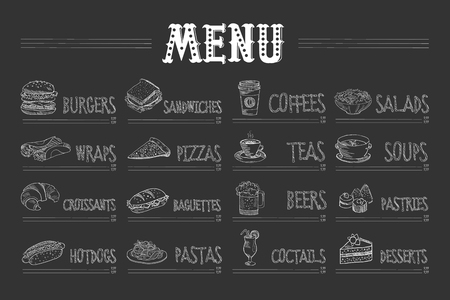 Ilustración de Cafe menu with food and drinks on chalkboard. Sketch of burger, wrap, croissant, hot dog, sandwich, pizza, pasta, coffee, tea, beer, cocktail, salad, soup, pastry, dessert. Hand drawn vector design - Imagen libre de derechos